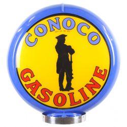 Gaspump globe Conoco Gasoline Blue