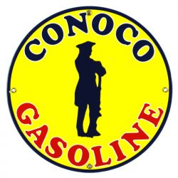 Enamel sign Conoco Gasoline