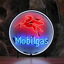 Mobilgas neon with background