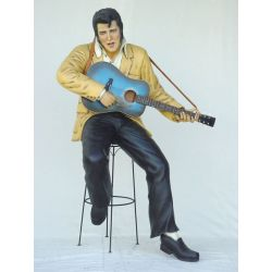 Elvis with Guitar Sitting Lifesize