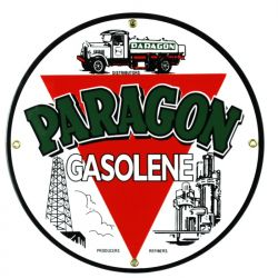 Enamel sign Paragon Gasolene