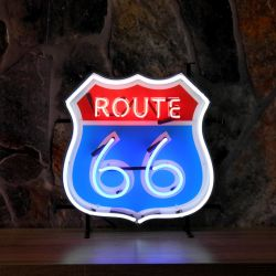 Route 66 neon with background