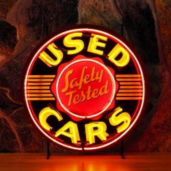 Used Cars neon with background