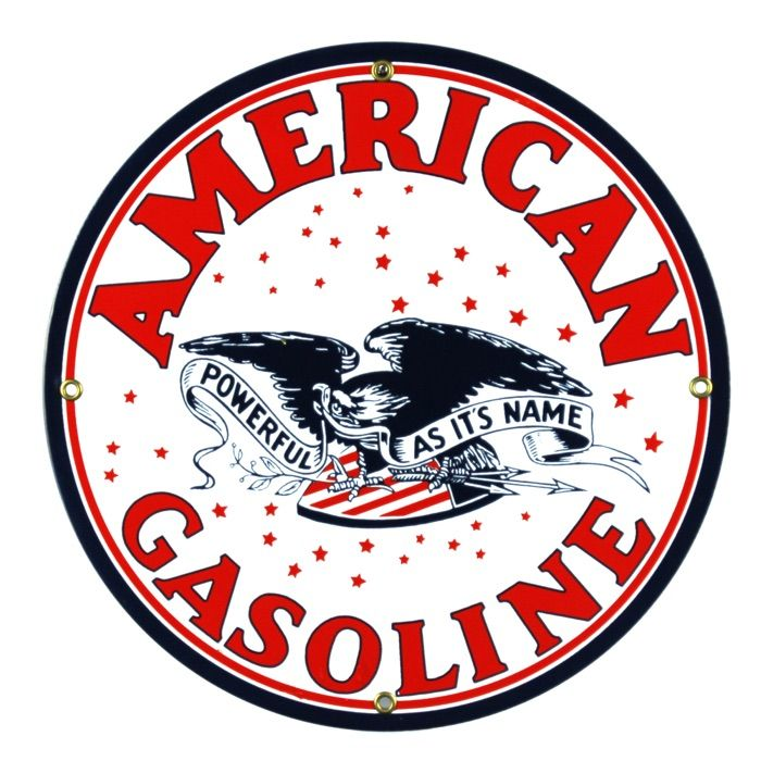 Enamel sign American Gasoline