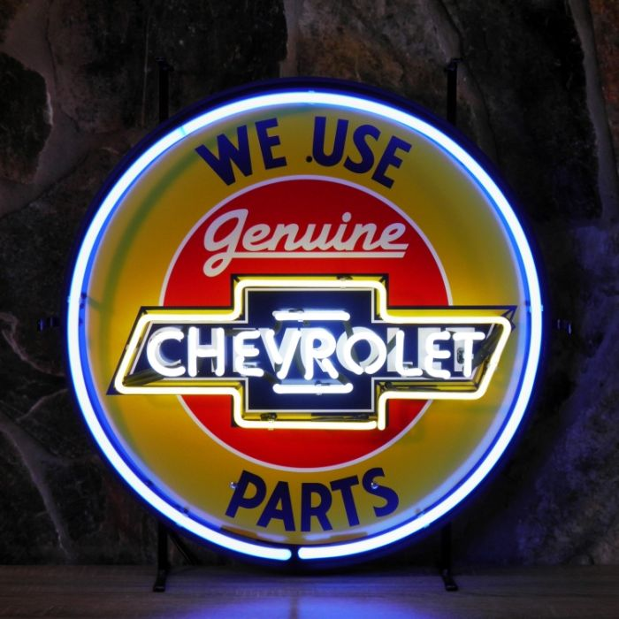 Chevrolet Parts neon with background