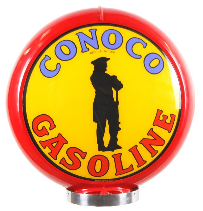 Gaspump globe Conoco Gasoline red