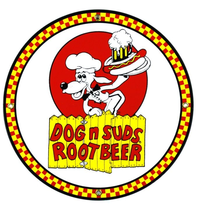 Enamel sign Dog 'n Suds Root Beer