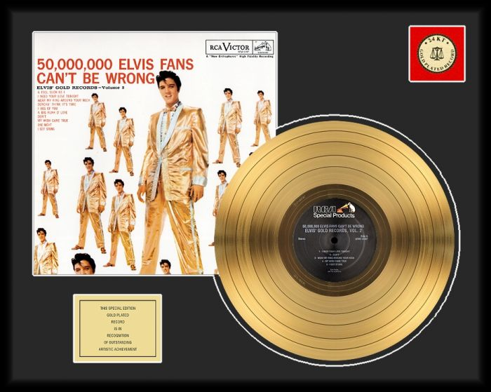"Gold plated record - Elvis Presley ""50 Million Fans"""