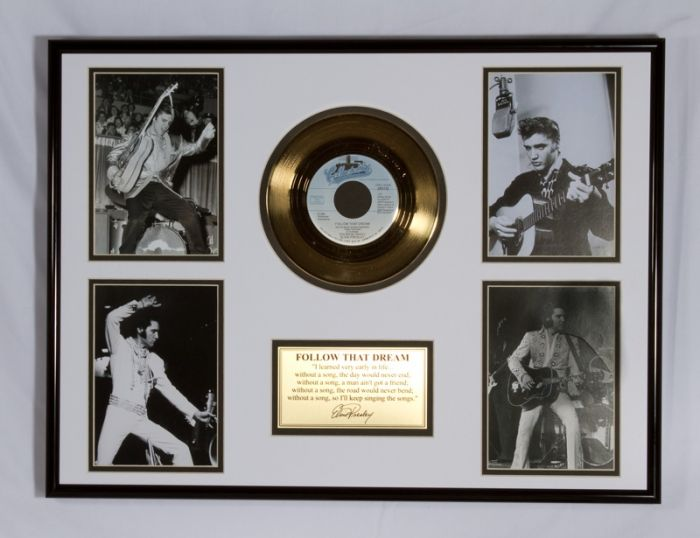 "Gold plated record - Elvis Presley ""Follow That Dream"""