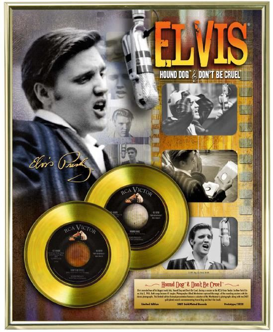 "Gold plated record - Elvis Presley ""Hound Dog - Don't Be Cruel"""