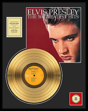 "Gold plated record - Elvis Presley ""The 50 Greatest Hits"""