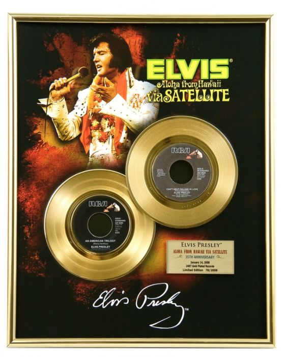 "Gold plated record - Elvis Presley ""Via Satellite"""