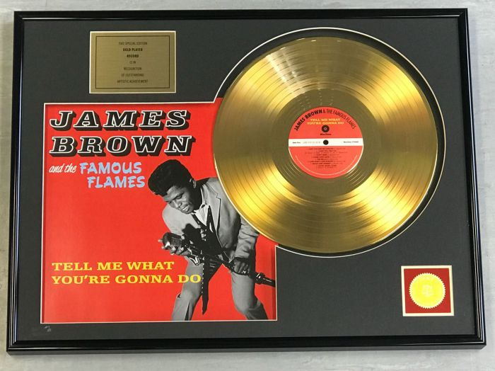 "Gold plated record - JAMES BROWN  ""TELL ME WHAT YOU'RE GONNA DO"""