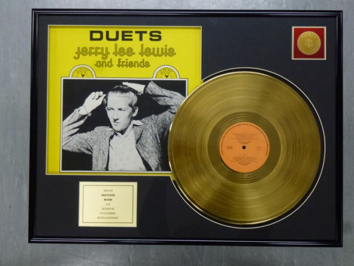 "Gold plated record - JERRY LEE LEWIS ""DUETS"""