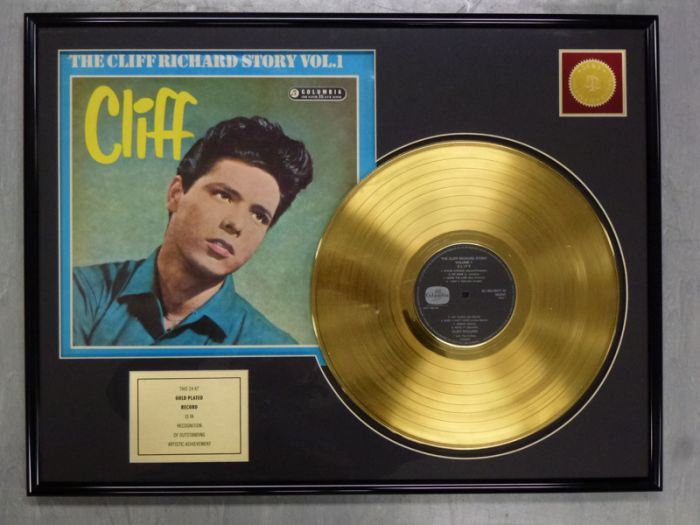 "Gold plated record - Cliff Richard ""THE CLIFF RICHARD STORY"""