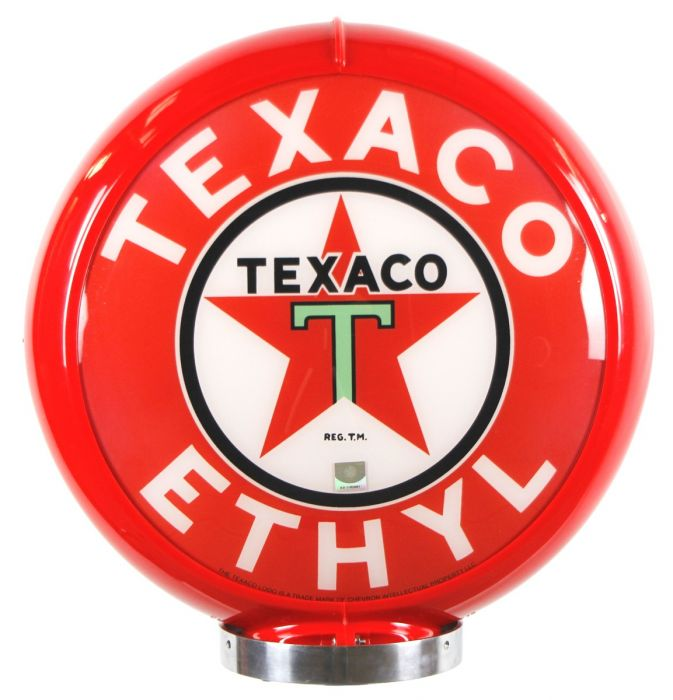 Gaspump globe Texaco Ethyl Red