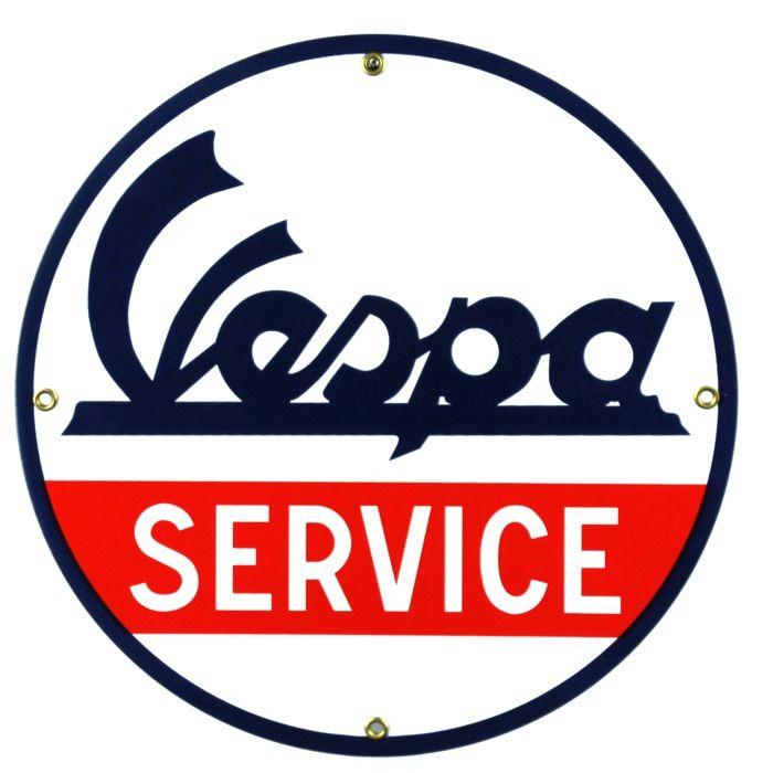 Enamel sign Vespa Service
